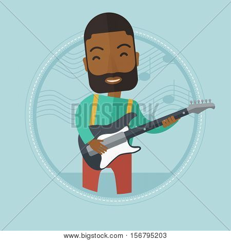 An african-american man playing electric guitar. Young musician practicing in playing guitar. Cheerful guitarist playing music. Vector flat design illustration in the circle isolated on background.