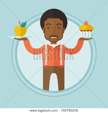 An african-american man choosing between apple and cupcake. Young happy man choosing between healthy and unhealthy nutrition. Vector flat design illustration in the circle isolated on background.