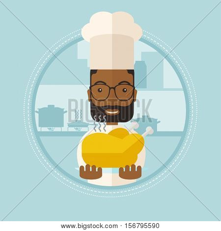 An african-american smiling chief cooker holding roasted chicken in the kitchen. Cheerful chief cooker with whole baked chicken. Vector flat design illustration in the circle isolated on background.