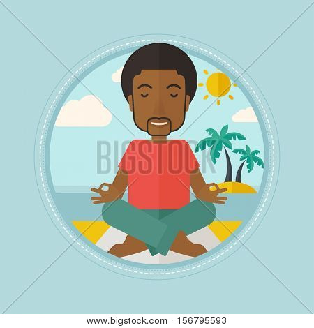 An african-american man meditating in yoga lotus pose on the beach. Happy man relaxing on the beach in the yoga lotus position. Vector flat design illustration in the circle isolated on background.