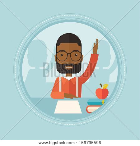 An african-american student raising hand in the classroom for an answer. Smart student sitting at the table with raised hand. Vector flat design illustration in the circle isolated on background.