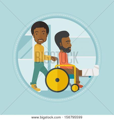 An african-american man pushing wheelchair with patient with broken leg. An injured man with fractured leg sitting in wheelchair. Vector flat design illustration in the circle isolated on background.