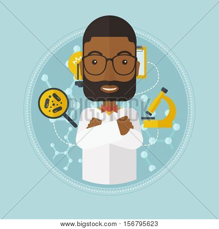An african-american laboratory assistant with hands crossed. Confident laboratory assistant on background with molecular structure. Vector flat design illustration in the circle isolated on background