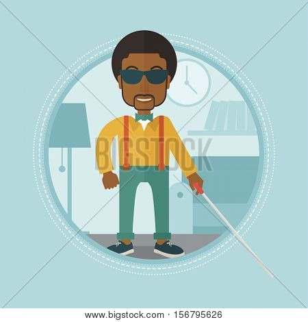 An african-american blind man standing with walking stick. Blind man in dark glasses with cane standing in living room. Vector flat design illustration in the circle isolated on background.