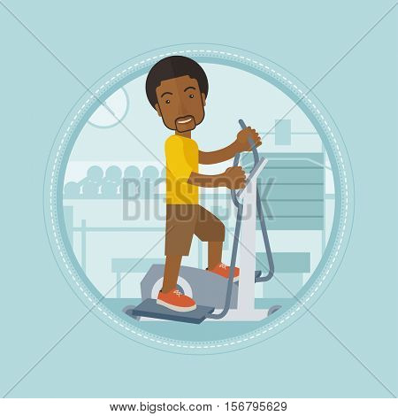 African man riding stationary bicycle. Man exercising on stationary training bicycle. Man training on stationary bicycle in gym. Vector flat design illustration in the circle isolated on background.