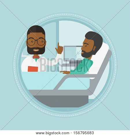 An african doctor visiting patient at hospital ward. Doctor pointing finger up during consultation with patient in hospital ward. Vector flat design illustration in the circle isolated on background.