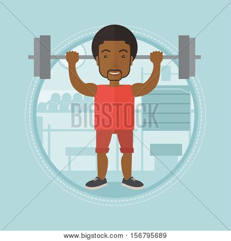 An african-american man lifting a heavy weight barbell. Sportsman doing exercise with barbell. Male weightlifter holding a barbell. Vector flat design illustration in the circle isolated on background