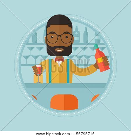 An african-american bartender standing at the bar counter. Cheerful bartender pouring wine in a glass. Happy bartender at work. Vector flat design illustration in the circle isolated on background.