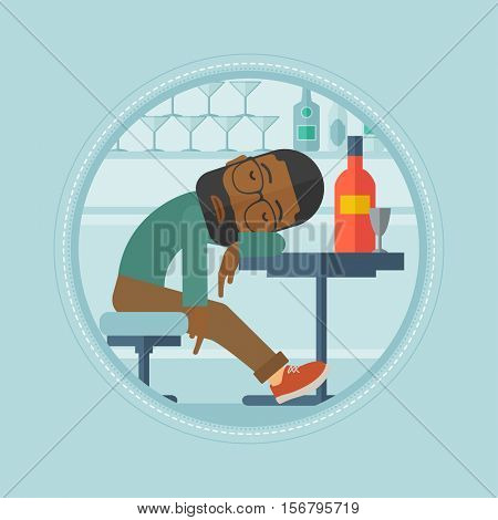 An african-american drunk bar customer deeply sleeping in bar. Bar customer asleep on the table. Alcohol addiction concept. Vector flat design illustration in the circle isolated on background.