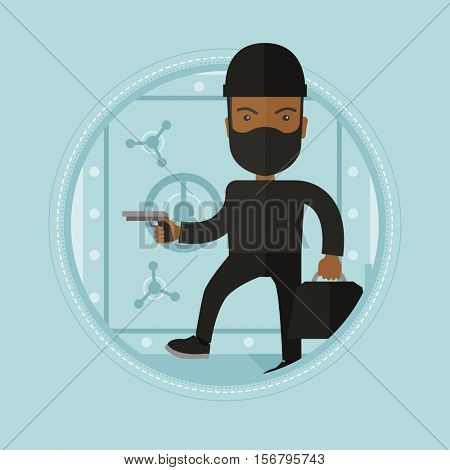 An african-american robber in black costume and mask with hand gun standing near bank safe door. Robber stealing money in bank. Vector flat design illustration in the circle isolated on background.