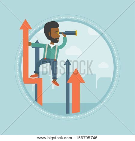 An african-american businessman using spyglass for searching of opportunities. Business opportunities and business vision concept. Vector flat design illustration in the circle isolated on background.