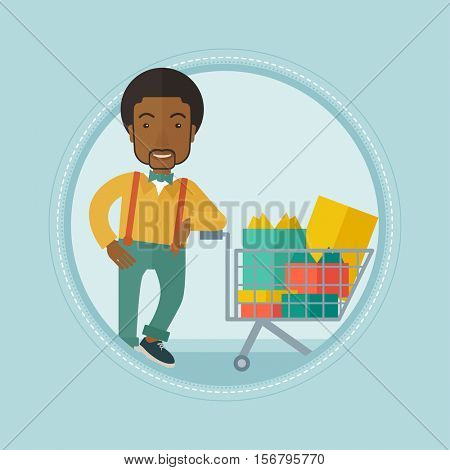 An african-american smiling man leaning on supermarket trolley full of gift boxes. Happy adult man buying gifts for christmas. Vector flat design illustration in the circle isolated on background.