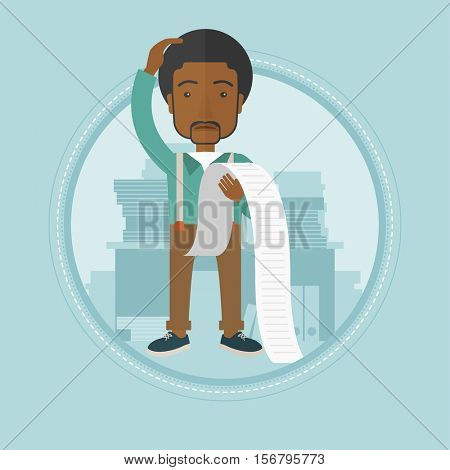 An african-american businessman bankrupt holding a long bill in office. Disappointed businessman bankrupt looking at long bill. Vector flat design illustration in the circle isolated on background.