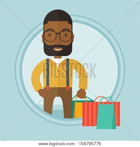 An african-american man holding shopping bags with purchases. Happy man carrying shopping bags. Man with a lot of shopping bags. Vector flat design illustration in the circle isolated on background.