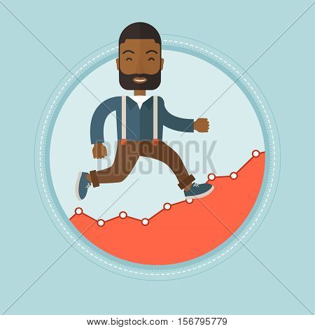 African-american businessman running on profit chart. Cheerful businessman walking along the profit chart. Business profit concept. Vector flat design illustration in the circle isolated on background