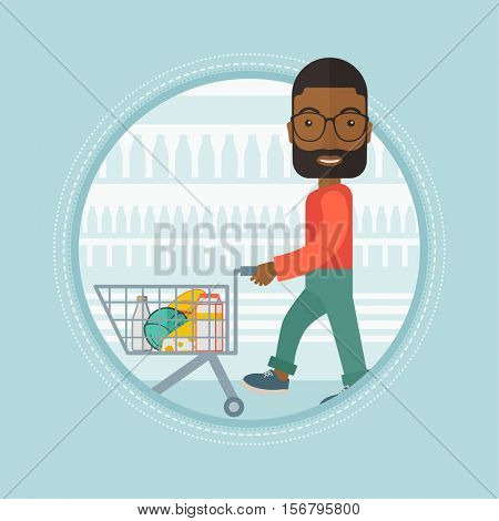 An african-american shopper walking with supermarket trolley at grocery store. Shopper shopping at supermarket with trolley. Vector flat design illustration in the circle isolated on background.