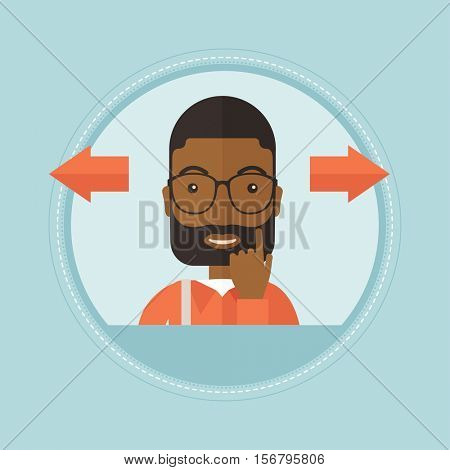 An african-american businessman thinking between two alternative options. Businessman choosing between two different options. Vector flat design illustration in the circle isolated on background.