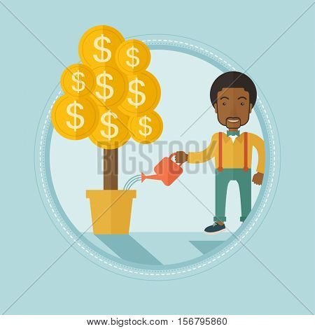 African-american businessman watering financial tree. Businessman taking care of finances. Man investing in future financial safety. Vector flat design illustration in circle isolated on background.