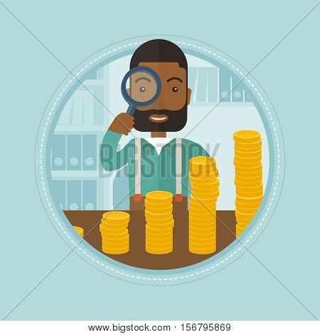 An african businessman looking through magnifier at coins - business profit. Businessman satisfied by growth of business profit. Vector flat design illustration in the circle isolated on background.