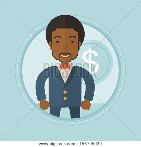 An african-american successful wealthy businessman standing on a background with dollar coin. Concept of business success. Vector flat design illustration in the circle isolated on background.