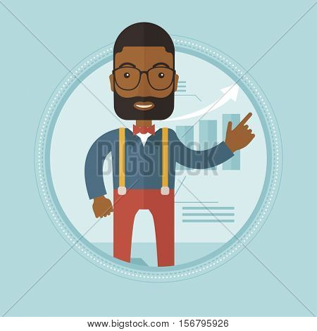 An african successful businessman pointing at chart going up. Businessman satisfied by business success. Business success concept. Vector flat design illustration in the circle isolated on background.