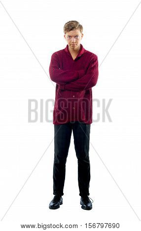 image of a young man dressed in a maroon sweater
