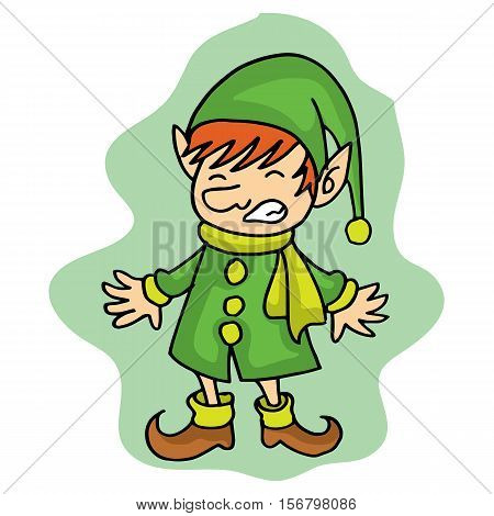 Cute elf Christmas character stock vector art