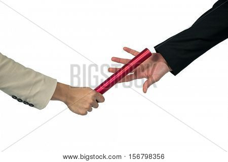 Business people passing a baton on white background