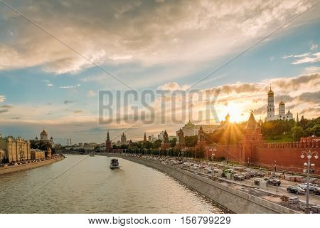 Gorgeous Sunset Over The Kremlin And Moscow River