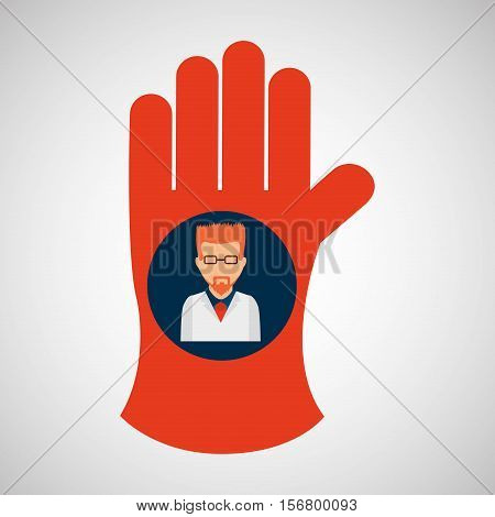 chemical glove with scientist chemistry graphic ector illustration eps 10