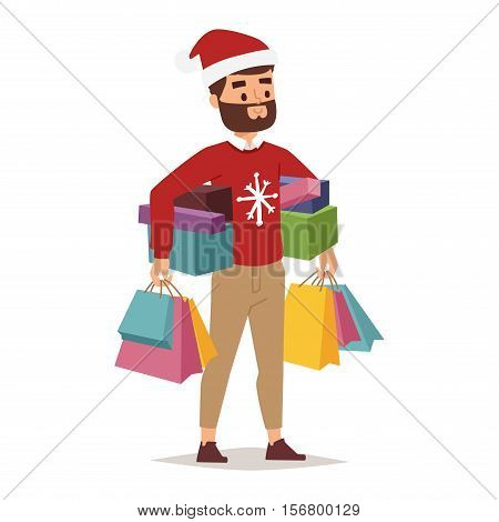 Collection going shopping people christmas celebrate with shopping bags. Shopping people man with bag in Santa red hats. Xmas tree, family shopping and sale days