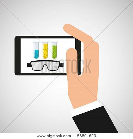 smartphone test tube chemistry laboratory vector illustration esp 10