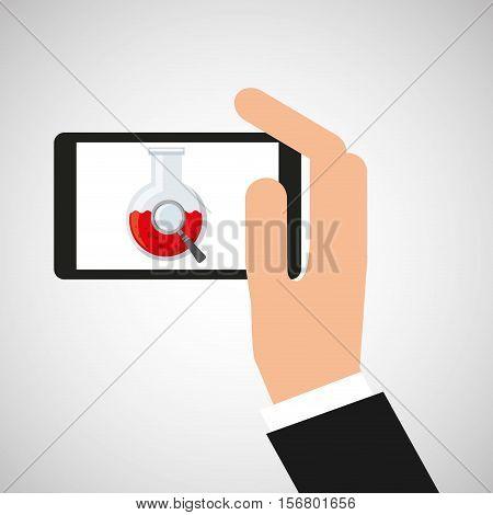hand hold smartphone beaker vector illustration eps 10