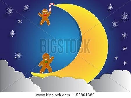ginger bread with big moon and cloud background christmas background vector copy space for text illustration paper art and origami style