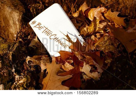 Be The Change Hashtag words scrolled on a card hidden in a pile of changing autumn leaves to be found and inspire action with room to write message and copy space symbolic to make a difference and change - Human Rights Day and giving Tuesday