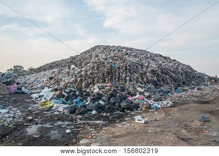 Landfill in city, Waste and toxic concept change for environment
