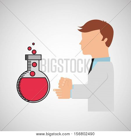 scientist worker research bulb test tube laboratory vector illustration eps 10