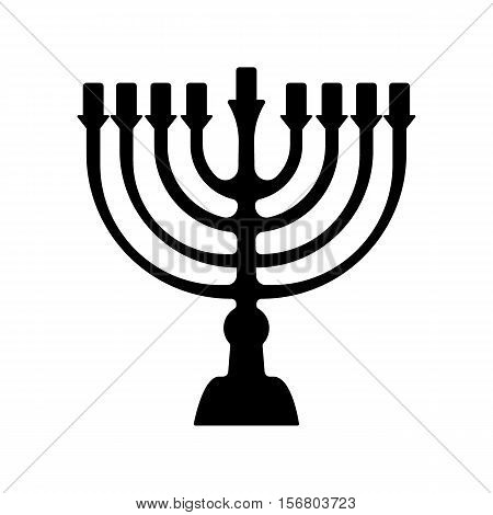 Menorah for Hanukkah, Vector illustration. Religion icon. Silhouette Flat style