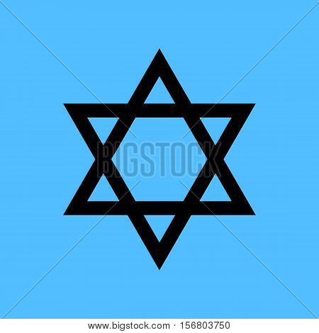 Black star of David icon vector. Blue background