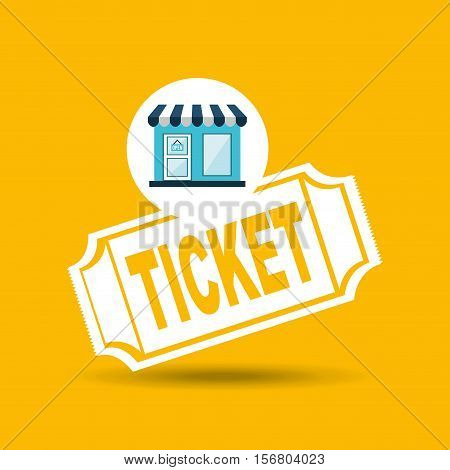e-commerce store building ticket icon design vector illustration eps 10
