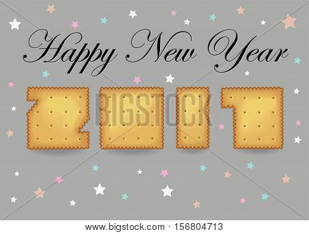 Happy New Year 2017. Calendar template. Hand drawn symbols. Crakers font. Celebration gray background with confetti stars. Greeting card.