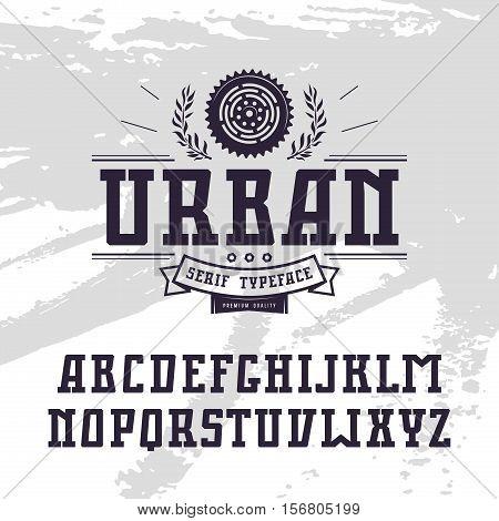 Rectangular serif font in urban style. Black font on light texture background