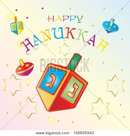 Happy Hanukkah inscription card design. Jewish Holiday card with Spinning top. Vector illustration.
