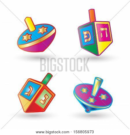 Hanukkah Festival of Lights. Dreidel a small four-sided spinning top with a Hebrew letter on each side, used by the Jews. Set of Spinning top isolated on white background, symbol of Hanukkah Jewish Holiday.