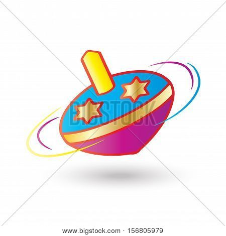 Hanukkah Festival of Lights. Dreidel a small four-sided spinning top used by the Jews. Spinning isolated on white background, symbol of Hanukkah Jewish Holiday.