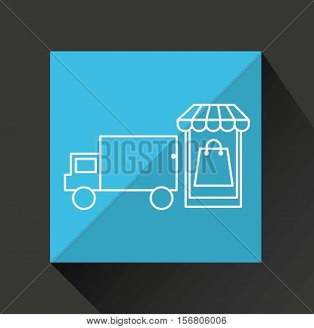 smartphone e-commerce basket bag shop delivery icon vector illustration eps 10
