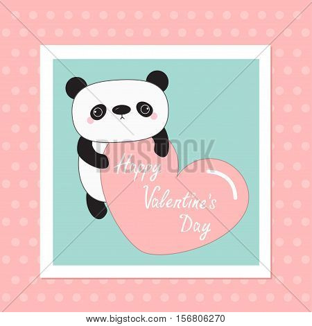 Kawaii panda baby bear. Happy Valentines Day. White frame. Cute cartoon character holding big pink heart. Wild animal collection for kids. Pink dot background Love card Flat design Vector illustration