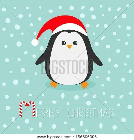 Kawaii Penguin wearing Santa red hat. Cute cartoon character. Flat design Winter antarctica bluebackground with snow. Merry Christmas Candy cane text. Greeting card. Vector illustration poster