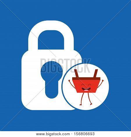 basket red commerce padlock icon vector illustration eps 10