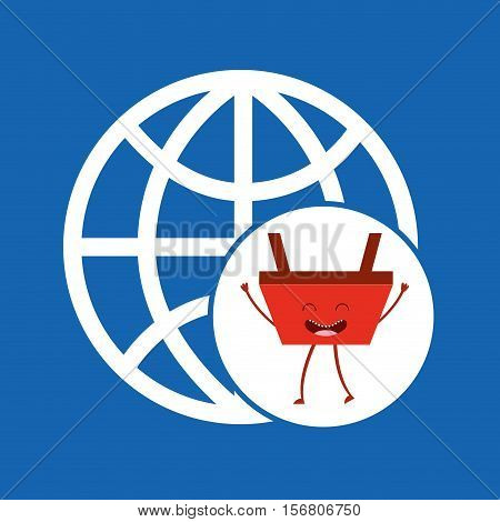 cartoon basket shopping connection global vector illustration eps 10